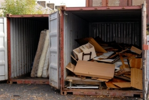 Containers with waste waiting to be recycled and reused.