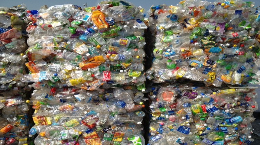 A valuable resource: plastic bottles awaiting recycling