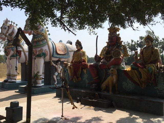 Hindu village god Ayyanar and his horses protect the school compund in naduuppam forest 40 years ago a barren land of red earth